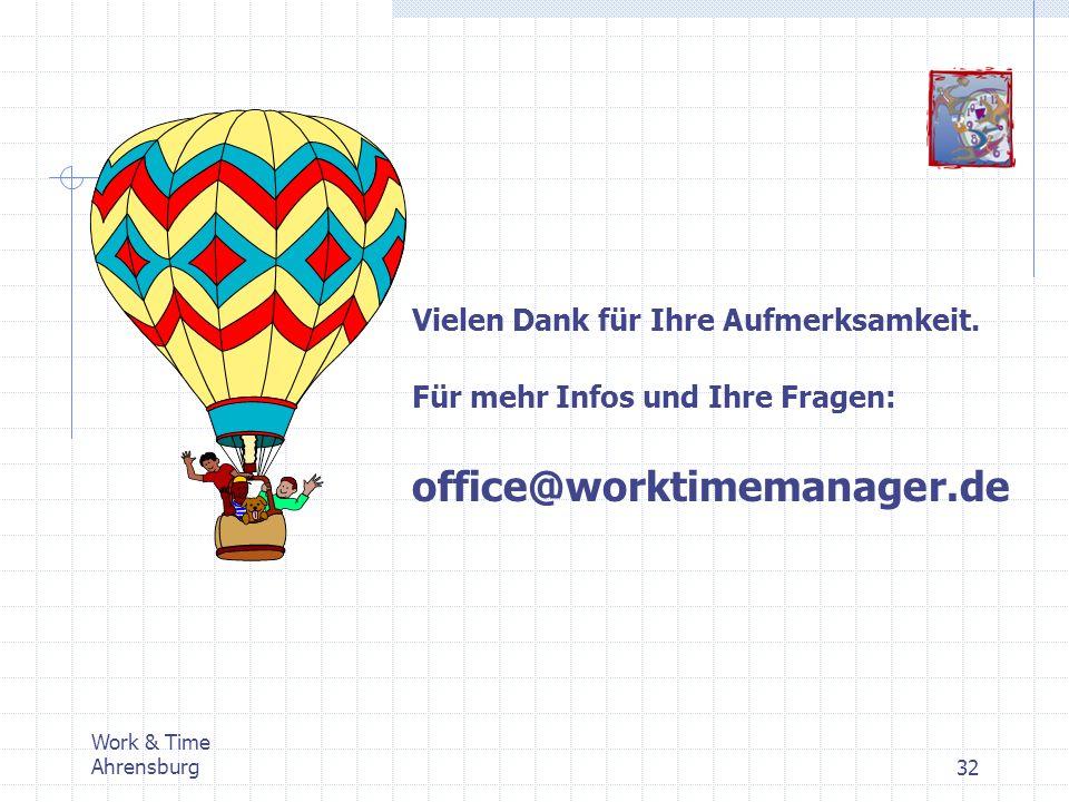 office@worktimemanager.de Vielen Dank für Ihre Aufmerksamkeit.