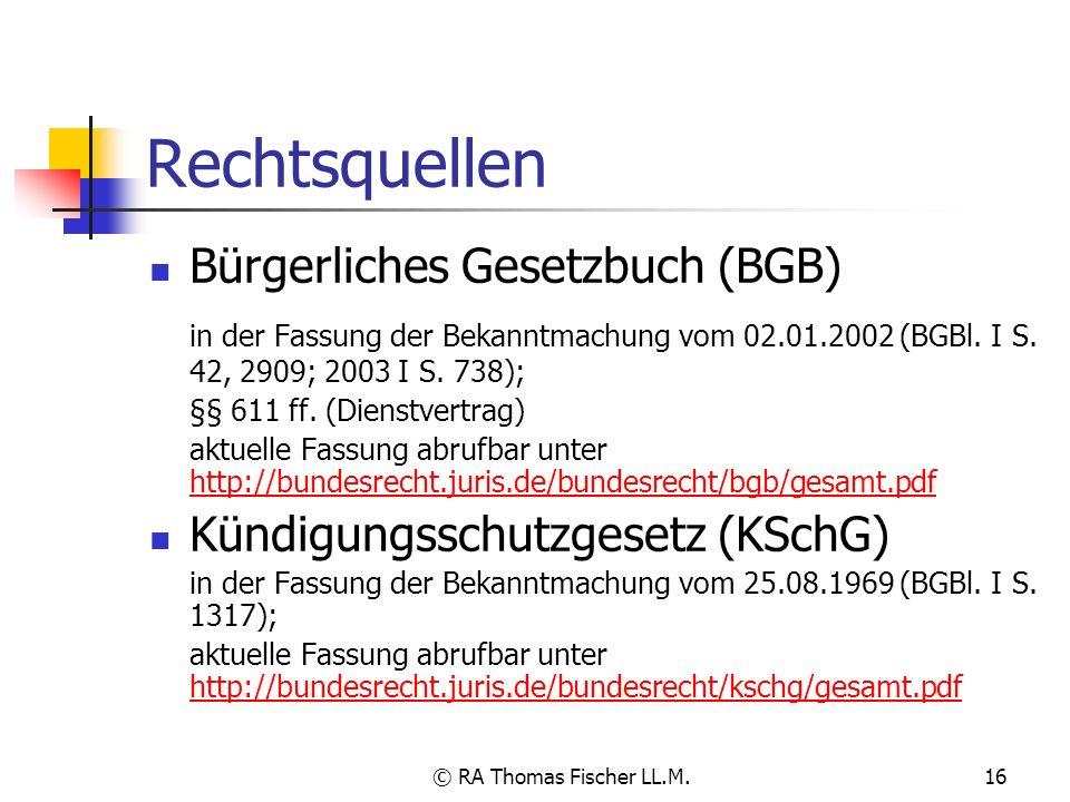 Rechtsquellen Bürgerliches Gesetzbuch (BGB)