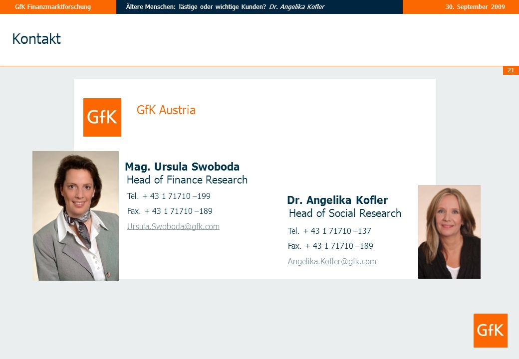 Kontakt GfK Austria Head of Finance Research Head of Social Research