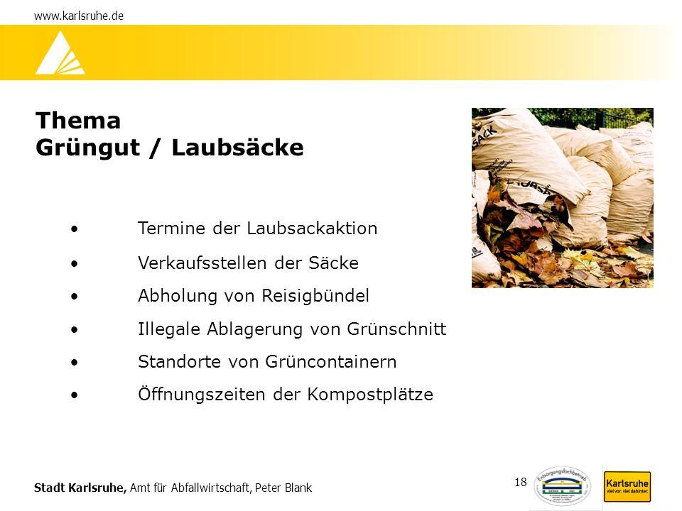Thema Grüngut / Laubsäcke Termine der Laubsackaktion