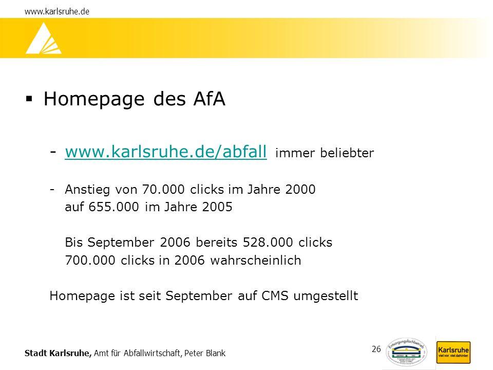 Homepage des AfA www.karlsruhe.de/abfall immer beliebter