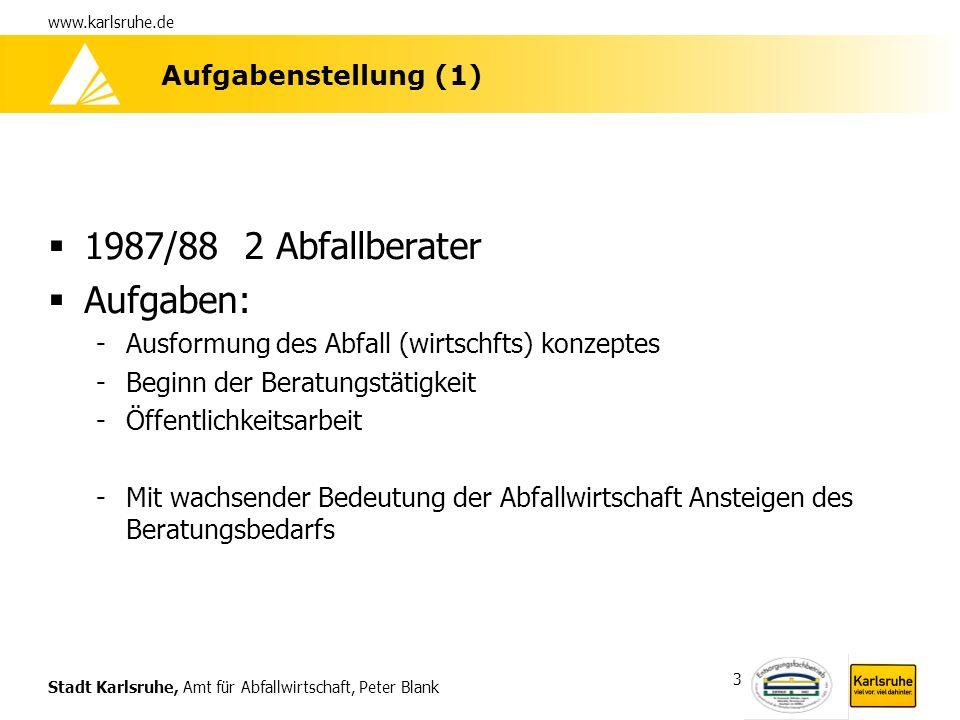 1987/88 2 Abfallberater Aufgaben: Aufgabenstellung (1)