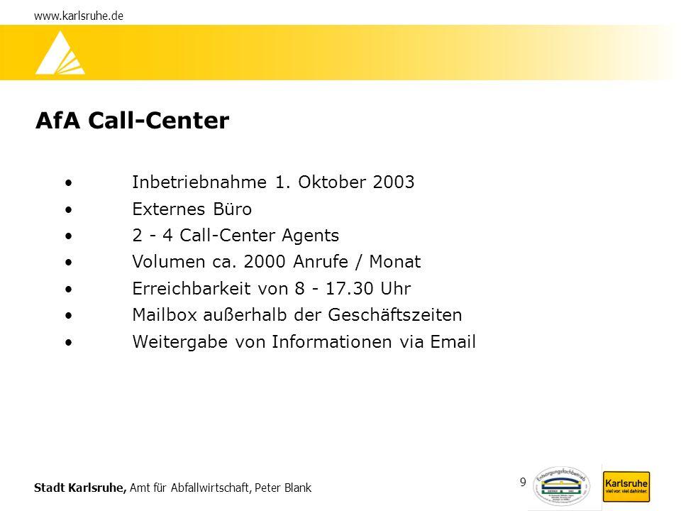 AfA Call-Center Inbetriebnahme 1. Oktober 2003 Externes Büro