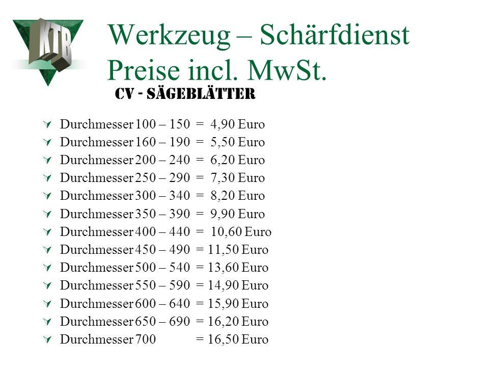 Werkzeug – Schärfdienst Preise incl. MwSt.