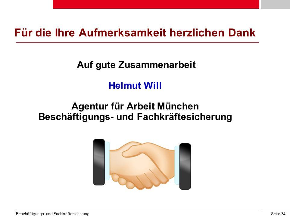 Für die Ihre Aufmerksamkeit herzlichen Dank Auf gute Zusammenarbeit Helmut Will Agentur für Arbeit München Beschäftigungs- und Fachkräftesicherung