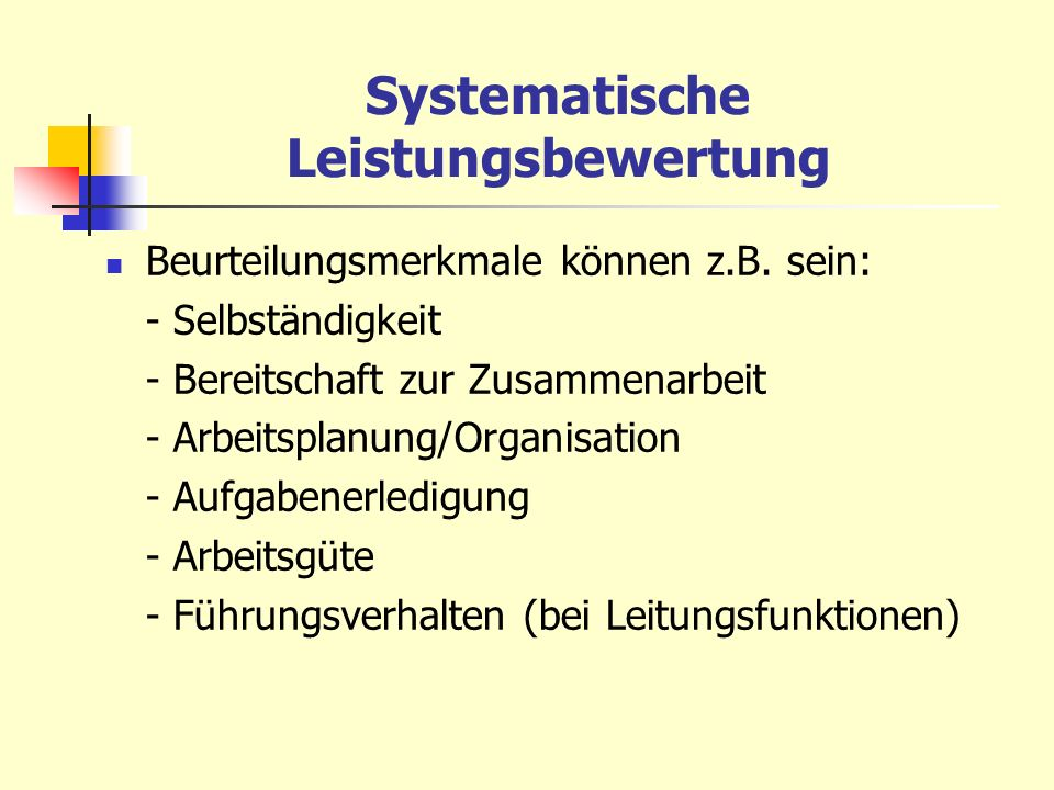 Systematische Leistungsbewertung