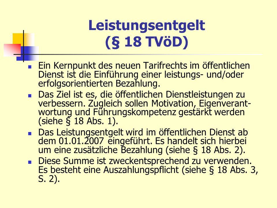 Leistungsentgelt (§ 18 TVöD)