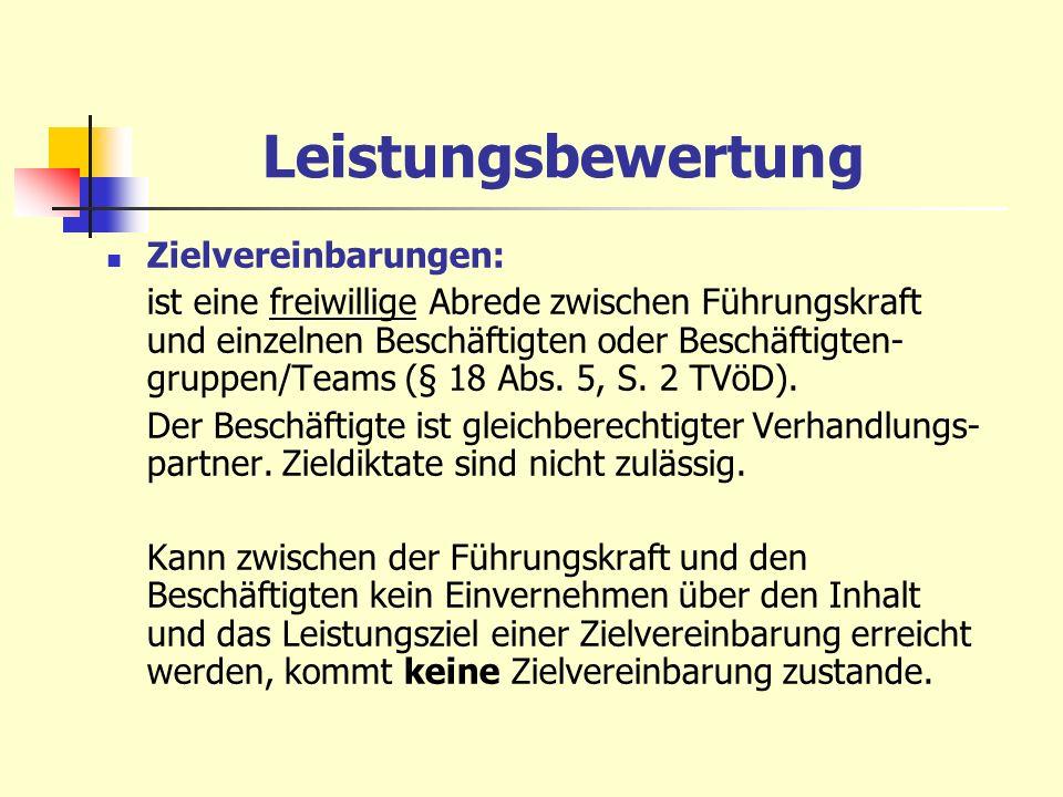 Leistungsbewertung Zielvereinbarungen: