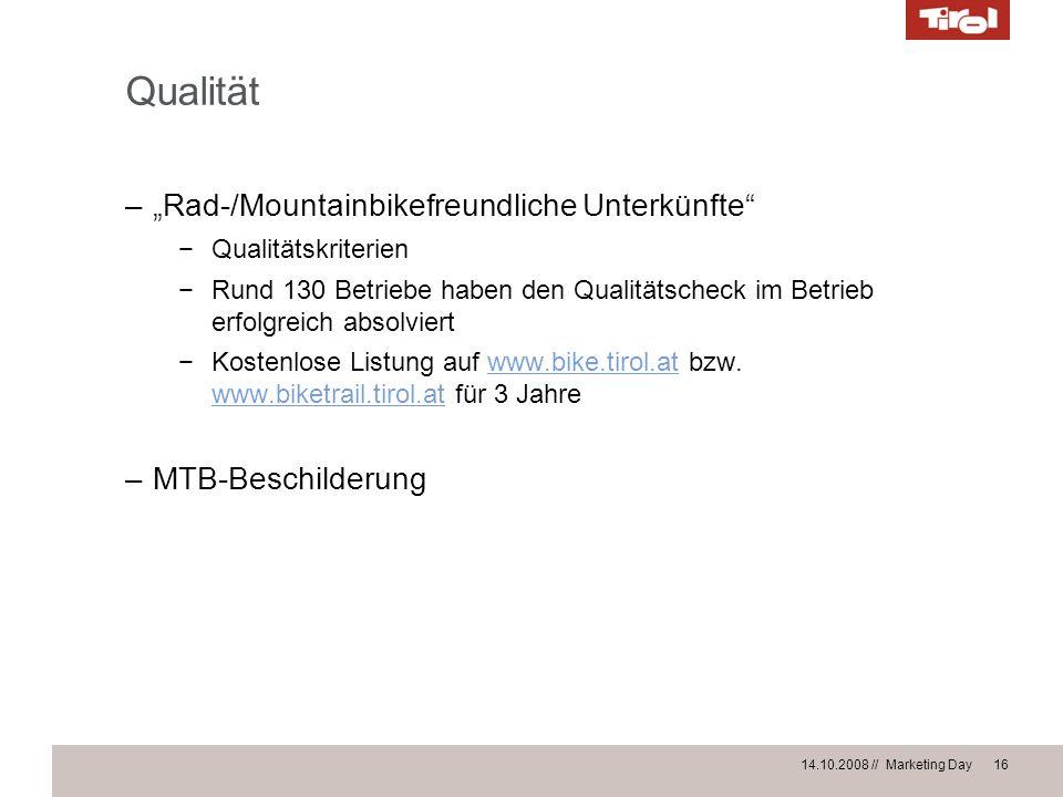 """Qualität """"Rad-/Mountainbikefreundliche Unterkünfte MTB-Beschilderung"""