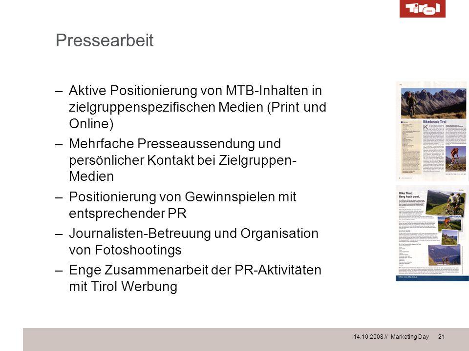 Pressearbeit Aktive Positionierung von MTB-Inhalten in zielgruppenspezifischen Medien (Print und Online)