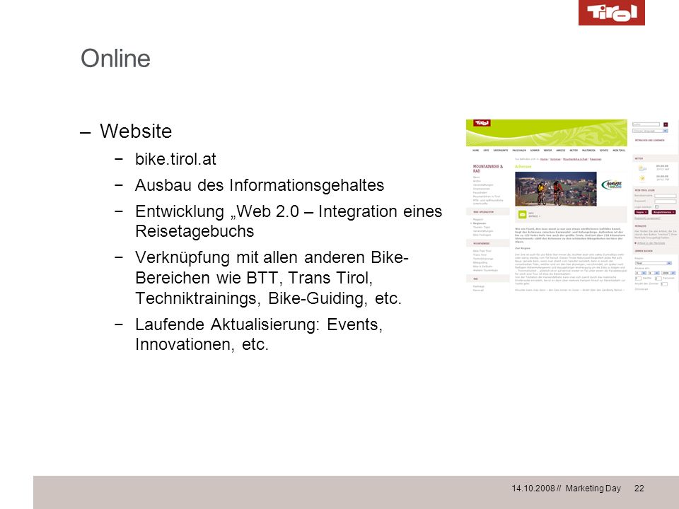 Online Website bike.tirol.at Ausbau des Informationsgehaltes