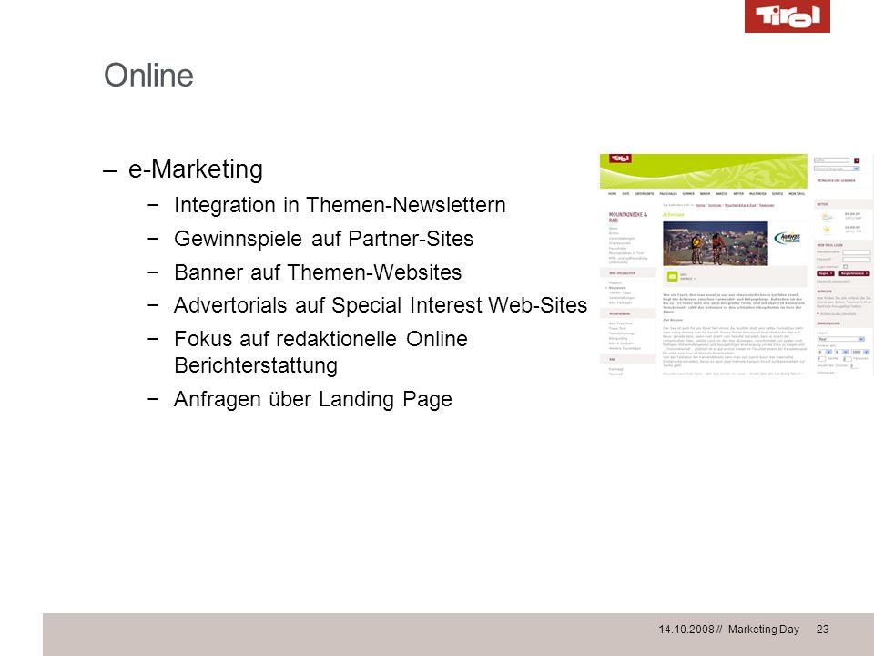 Online e-Marketing Integration in Themen-Newslettern