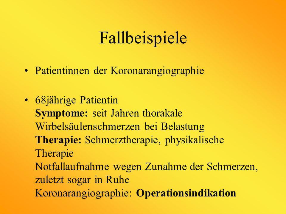 Fallbeispiele Patientinnen der Koronarangiographie
