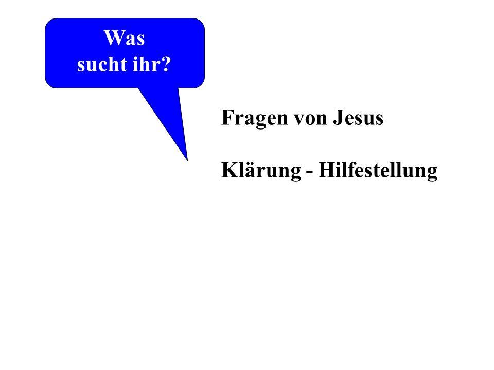 Was sucht ihr. Laut Johannes-Evangelium. die ersten Worte von Jesus.