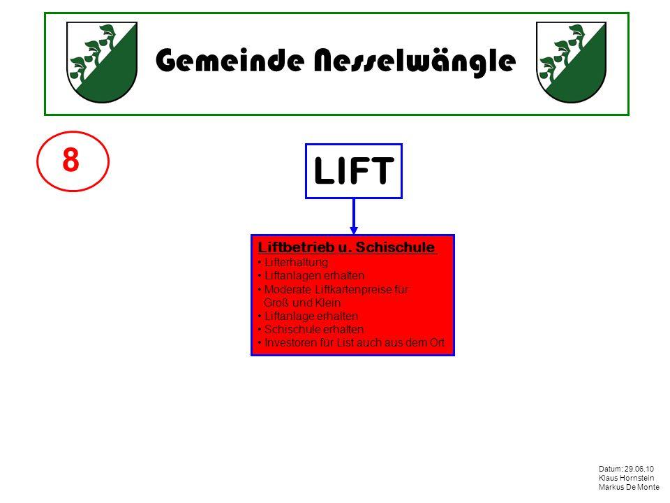 LIFT 8 Liftbetrieb u. Schischule Lifterhaltung Liftanlagen erhalten