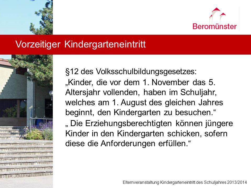 Vorzeitiger Kindergarteneintritt