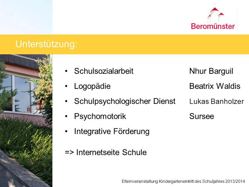 Unterstützung: Schulsozialarbeit Nhur Barguil Logopädie Beatrix Waldis