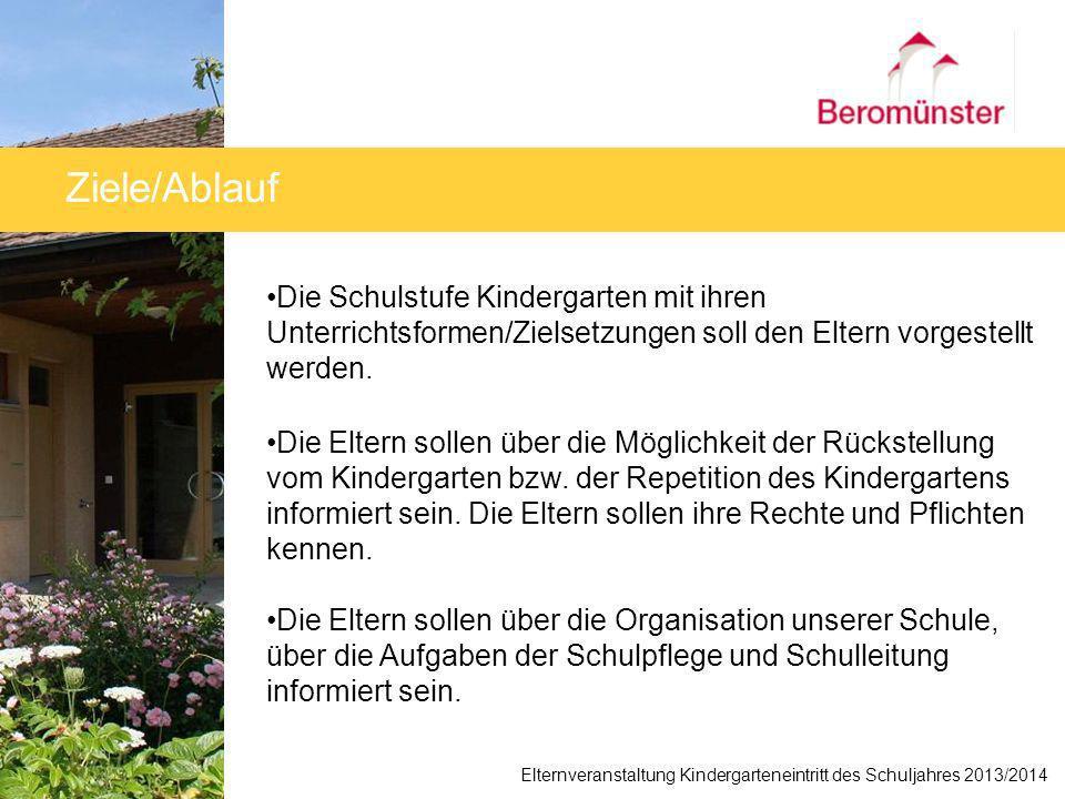 Ziele/Ablauf Die Schulstufe Kindergarten mit ihren Unterrichtsformen/Zielsetzungen soll den Eltern vorgestellt werden.