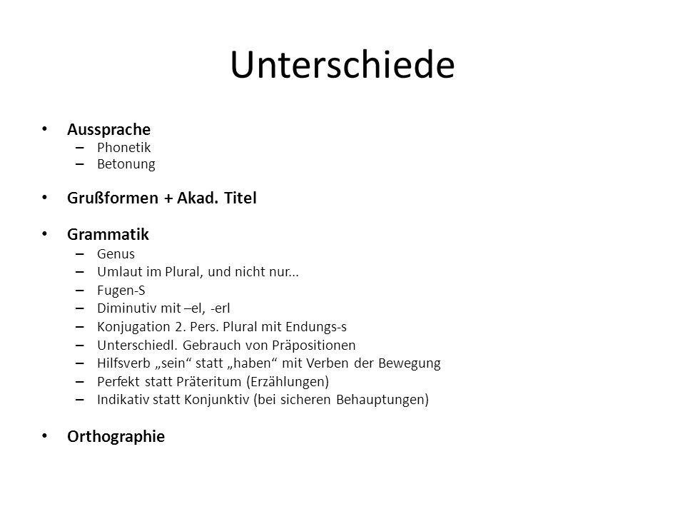 Unterschiede Aussprache Grußformen + Akad. Titel Grammatik