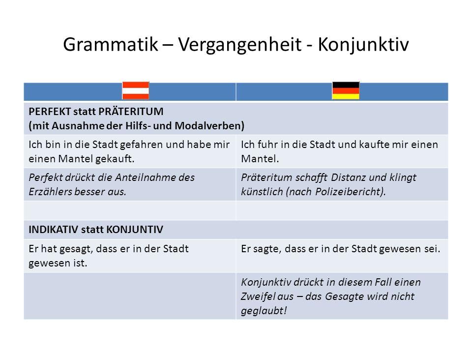 Grammatik – Vergangenheit - Konjunktiv