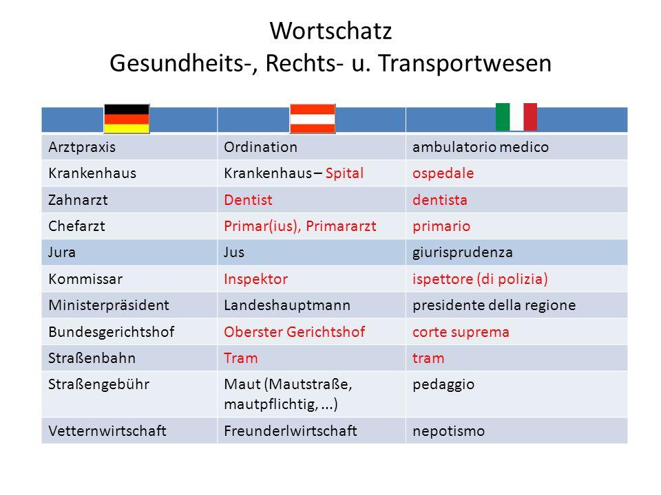 Wortschatz Gesundheits-, Rechts- u. Transportwesen