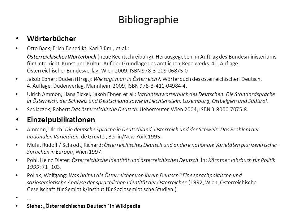 Bibliographie Wörterbücher Einzelpublikationen