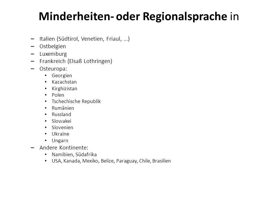 Minderheiten- oder Regionalsprache in