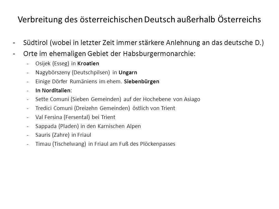 Verbreitung des österreichischen Deutsch außerhalb Österreichs