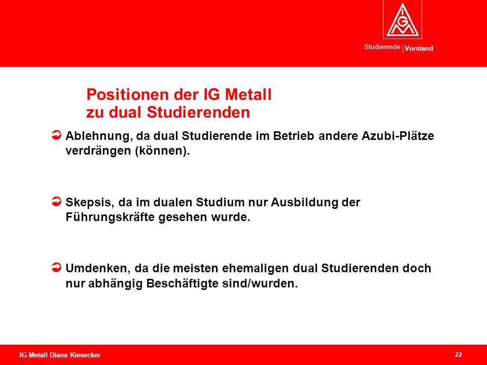 Positionen der IG Metall zu dual Studierenden