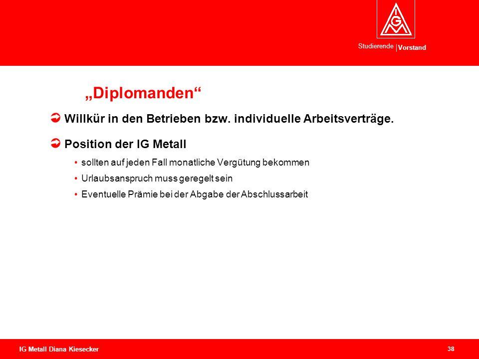 """""""Diplomanden Willkür in den Betrieben bzw. individuelle Arbeitsverträge. Position der IG Metall."""