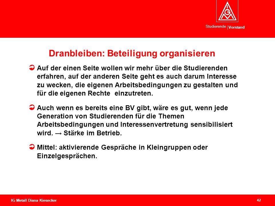 Dranbleiben: Beteiligung organisieren