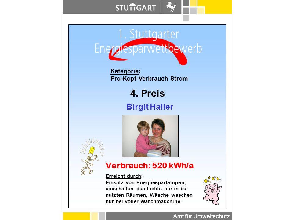 4. Preis Birgit Haller Verbrauch: 520 kWh/a Kategorie: