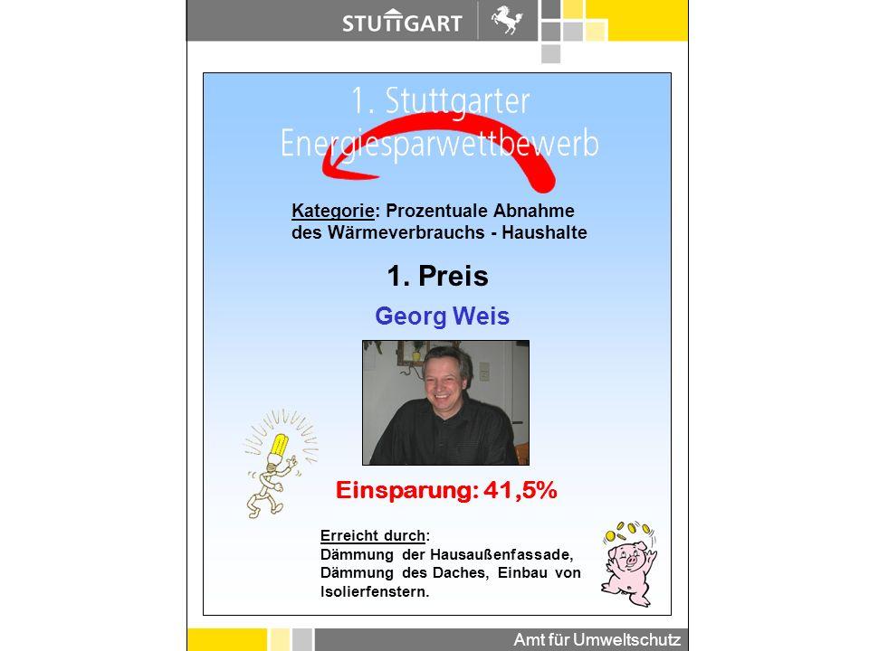1. Preis Georg Weis Einsparung: 41,5% Kategorie: Prozentuale Abnahme