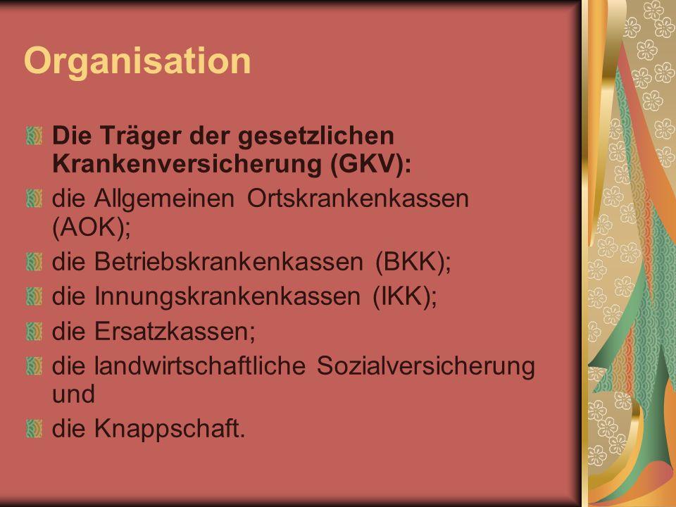 Organisation Die Träger der gesetzlichen Krankenversicherung (GKV):