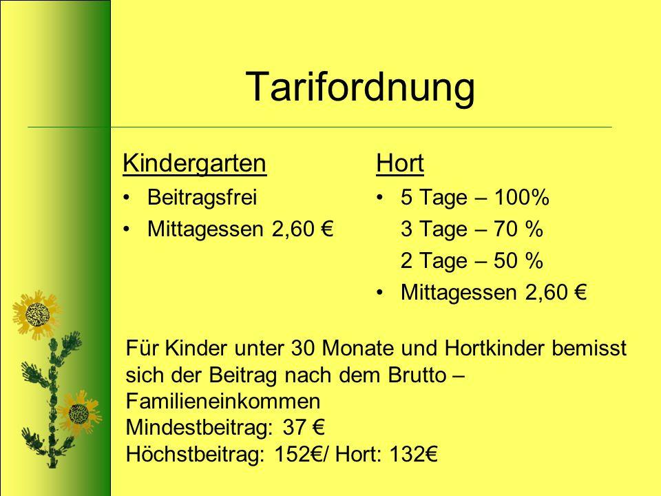Tarifordnung Kindergarten Hort Beitragsfrei Mittagessen 2,60 €