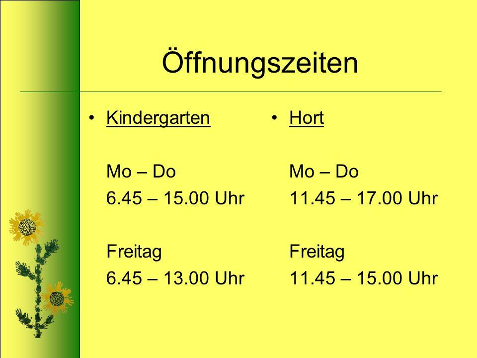 Öffnungszeiten Kindergarten Mo – Do 6.45 – 15.00 Uhr Freitag