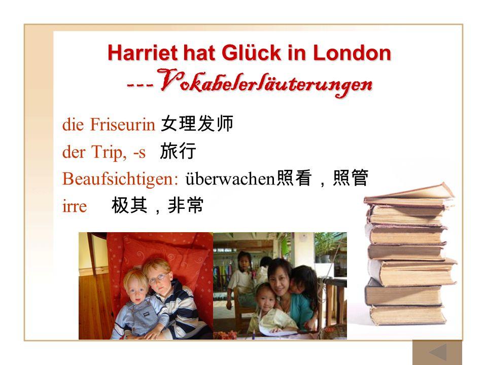 Harriet hat Glück in London ---Vokabelerläuterungen