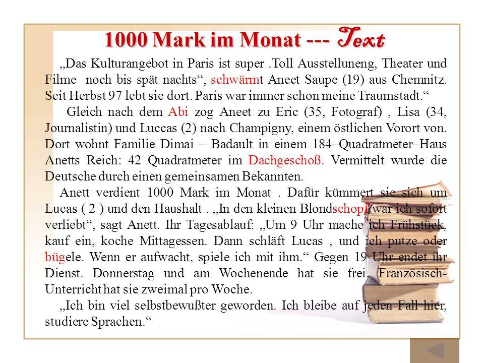 1000 Mark im Monat --- Text