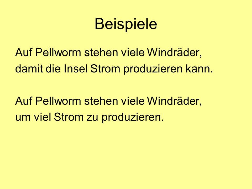 Beispiele Auf Pellworm stehen viele Windräder,