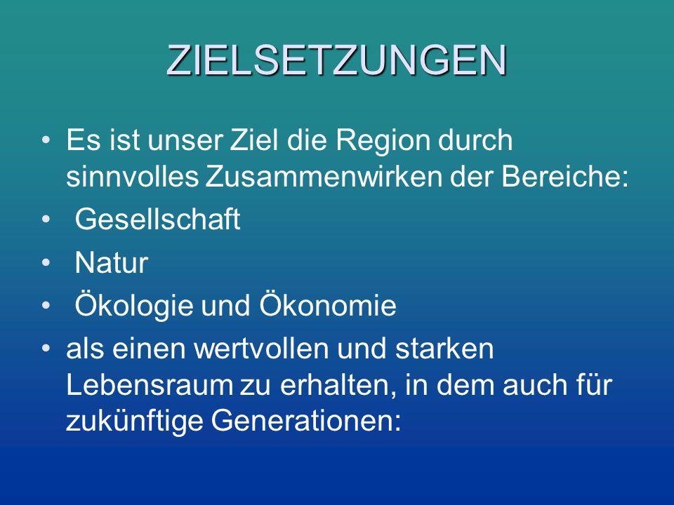 ZIELSETZUNGEN Es ist unser Ziel die Region durch sinnvolles Zusammenwirken der Bereiche: Gesellschaft.
