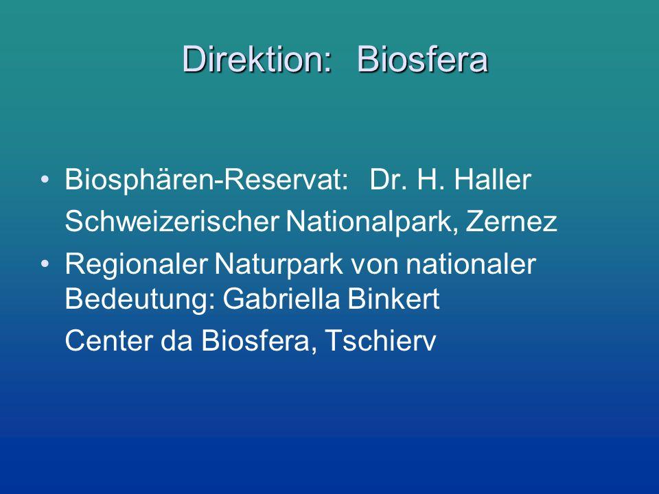 Direktion: Biosfera Biosphären-Reservat: Dr. H. Haller