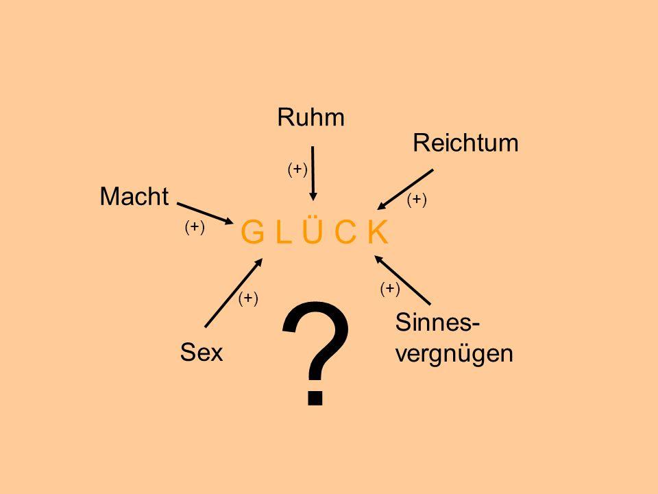 G L Ü C K Ruhm Reichtum Macht Sinnes- vergnügen Sex (+) (+) (+) (+)