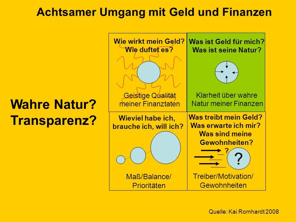 Wahre Natur Transparenz Achtsamer Umgang mit Geld und Finanzen