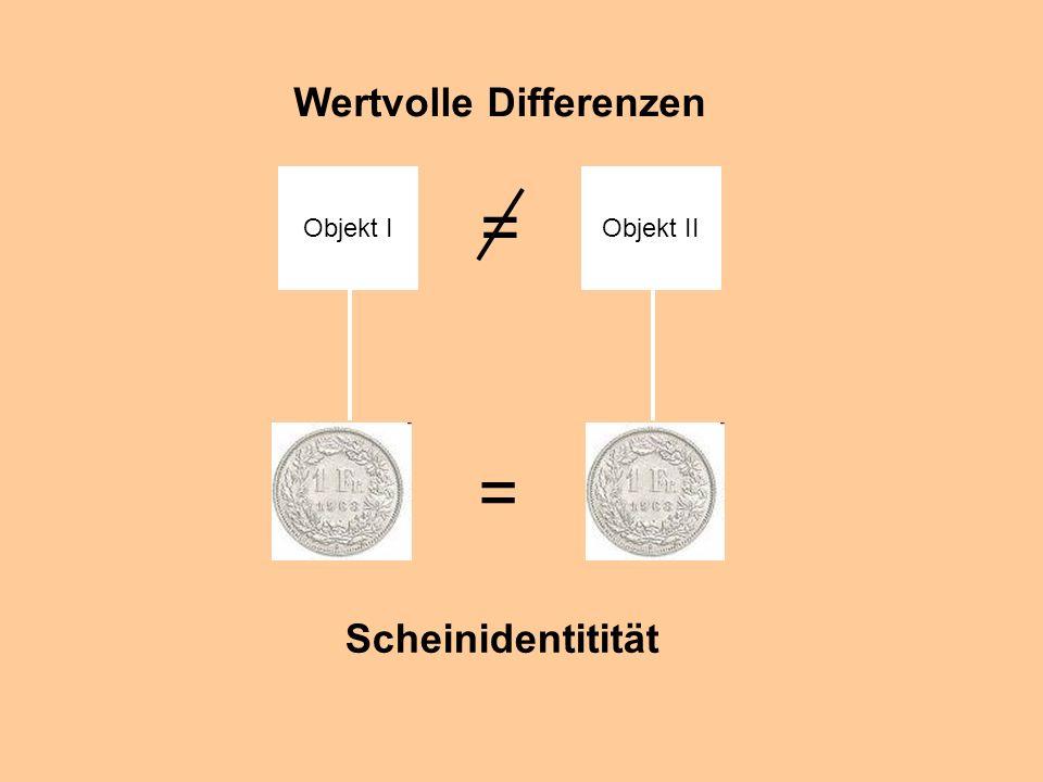 = = Wertvolle Differenzen Scheinidentitität Objekt I Objekt II