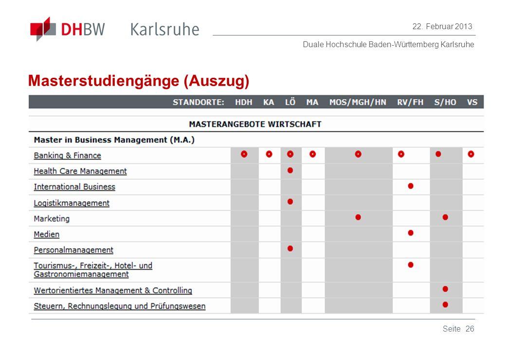 Masterstudiengänge (Auszug)