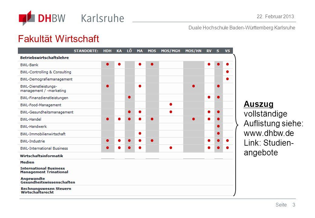 Fakultät Wirtschaft Auszug vollständige Auflistung siehe: www.dhbw.de Link: Studien- angebote Seite