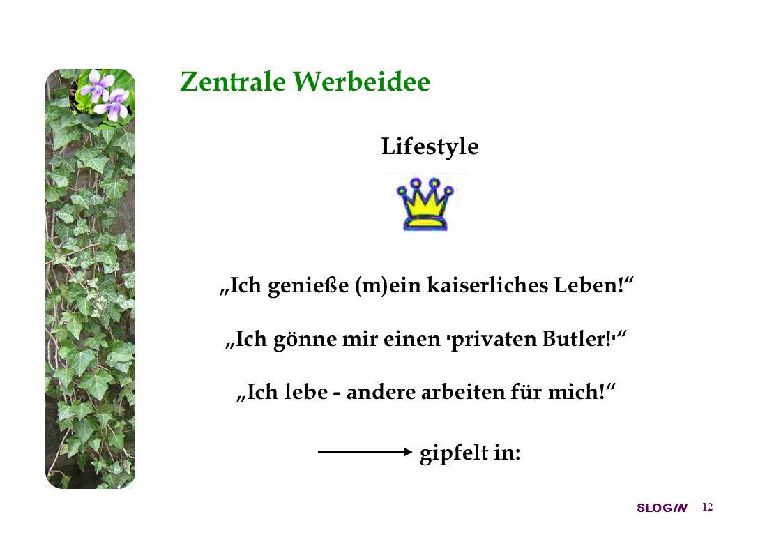 """Zentrale Werbeidee Lifestyle """"Ich genieße (m)ein kaiserliches Leben!"""
