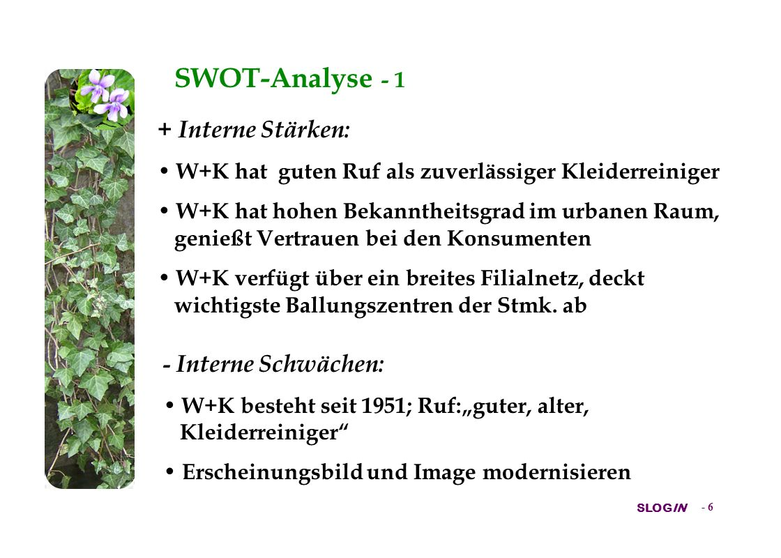 SWOT-Analyse - 1 + Interne Stärken: