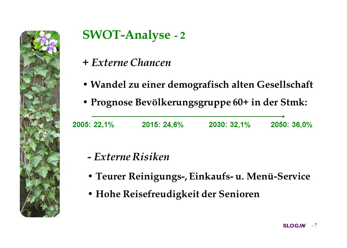 SWOT-Analyse - 2 + Externe Chancen - Externe Risiken