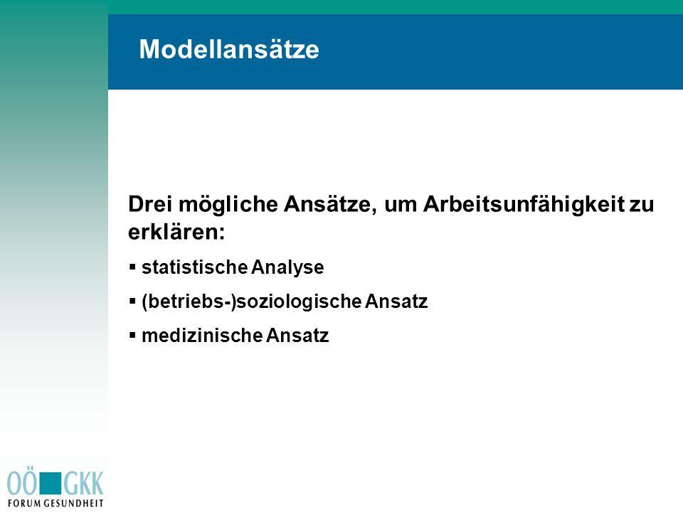 Modellansätze Drei mögliche Ansätze, um Arbeitsunfähigkeit zu erklären: statistische Analyse. (betriebs-)soziologische Ansatz.